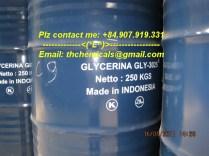 Glycerine 995% - indonesia - phuy 250 kg 95%